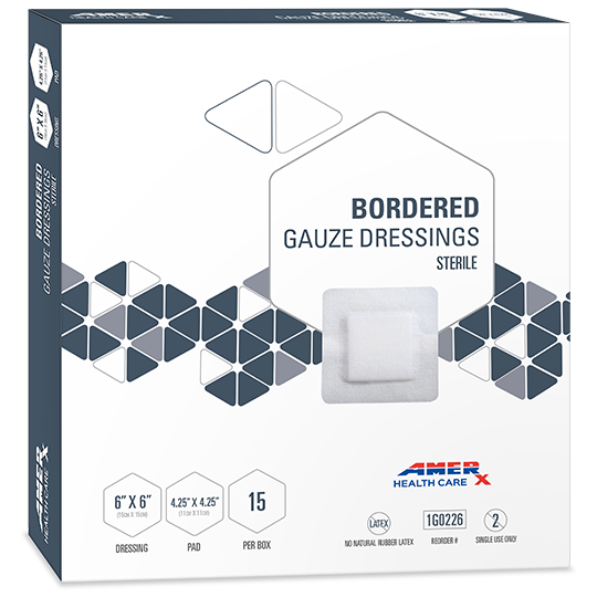 AMERX® Bordered Gauze Dressing - 4.25x4.25